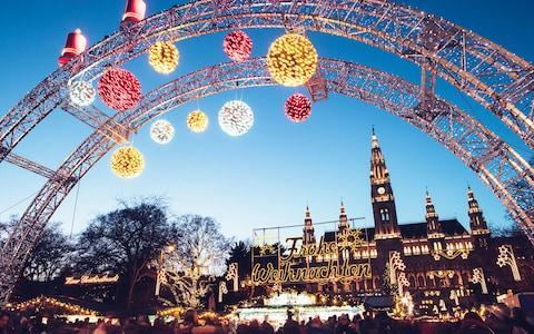 Christmas decorations outside Vienna Town Hall - Credit: Getty