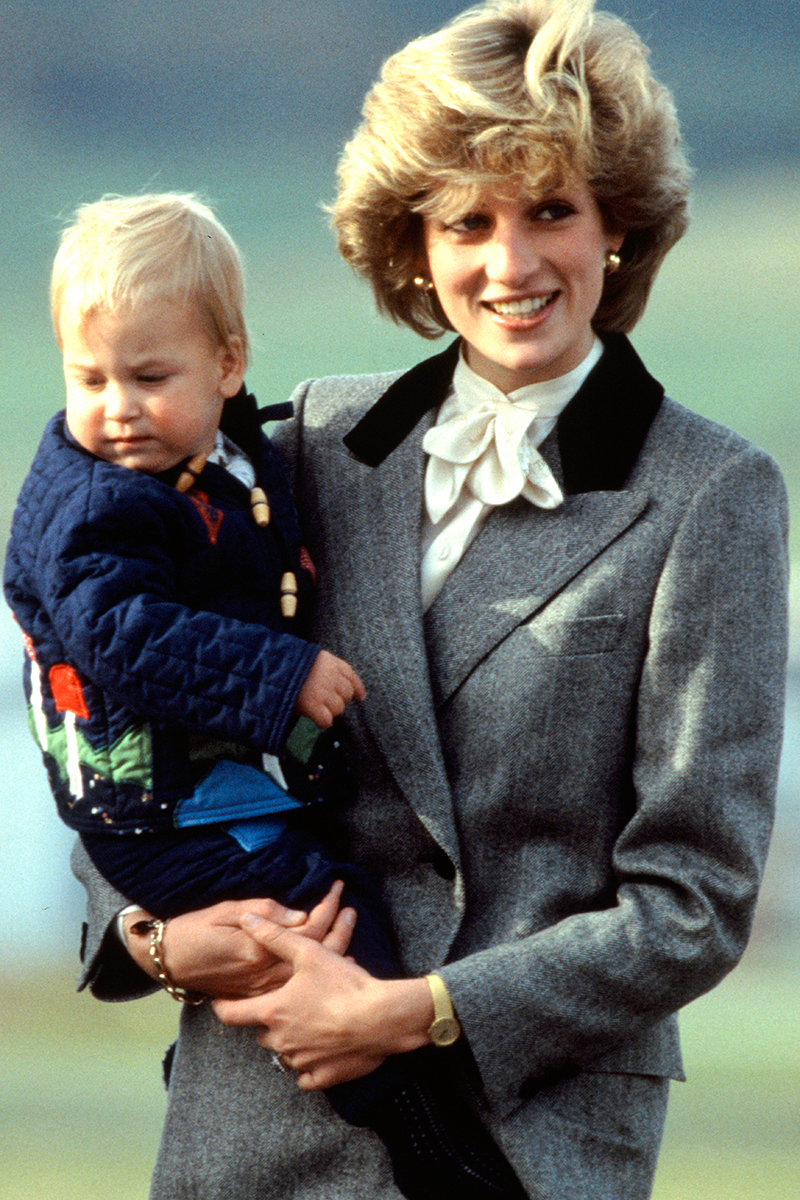 <p>I'm SO here for Diana's grey blazer with black contrast detailing layered over a pussybow blouse, worn at Aberdeen Airport in October 1983. Honestly, what's not to love?</p>