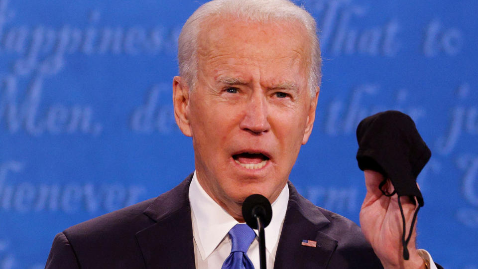 Joe Biden speaks during the final 2020 U.S. presidential campaign debate in the Curb Event Center at Belmont University in Nashville, Tennessee, U.S., October 22, 2020. (Jonathan Ernst/Reuters)