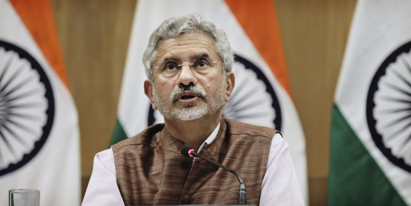 Indian Foreign Minister Subrahmanyam Jaishankar addresses a press conference on the performance of the ministry of external affairs in first 100 days of Prime Minister Narendra Modi's new term in office in New Delhi, India, Tuesday, Sept. 17, 2019. (AP Photo/Manish Swarup)