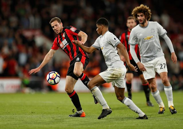 "Soccer Football - Premier League - AFC Bournemouth vs Manchester United - Vitality Stadium, Bournemouth, Britain - April 18, 2018 Bournemouth's Dan Gosling in action with Manchester United's Marcus Rashford Action Images via Reuters/John Sibley EDITORIAL USE ONLY. No use with unauthorized audio, video, data, fixture lists, club/league logos or ""live"" services. Online in-match use limited to 75 images, no video emulation. No use in betting, games or single club/league/player publications. Please contact your account representative for further details."