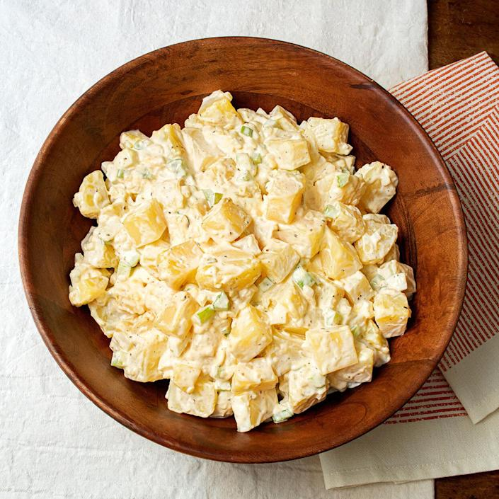 <p>For this classic potato salad, culinary historian and cookbook author Jessica B. Harris riffs on her mother's recipe, adding hard-boiled eggs and sweet pickle relish. Serve this easy and flavorful potato salad alongside fried fish or just about any main course.</p>
