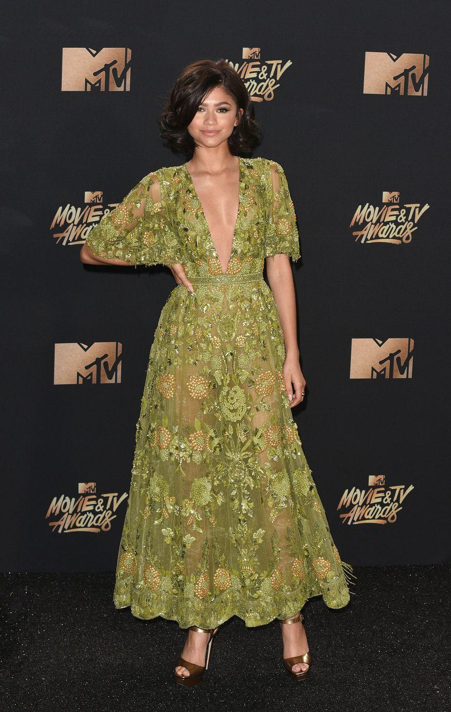 """<p>Zendaya<span class=""""redactor-invisible-space""""> wore Zuhair Murad Couture to attend the 2017 MTV Movie & TV Awards.</span></p>"""