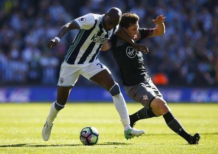 Britain Football Soccer - West Bromwich Albion v Southampton - Premier League - The Hawthorns - 8/4/17 West Bromwich Albion's Allan Nyom in action with Southampton's Pierre-Emile Hojbjerg Action Images via Reuters / Peter Cziborra Livepic