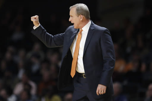 FILE In this Jan. 18, 2020, file photo, Tennessee coach Rick Barnes directs players during an NCAA college basketball game against Vanderbilt in Nashville, Tenn. The combination of experience and talent has raised expectations that Tennessee can win the SEC regular season title for the second time in four seasons and maybe even think of the program's first Final Four. (AP Photo/Mark Humphrey)