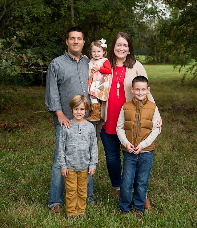 The Rocha family before Harvey hit: Parents Stephen and Ashley, with their kids Drew, Carson and Anna Kate. Photo credit: Laura Elise Photography.