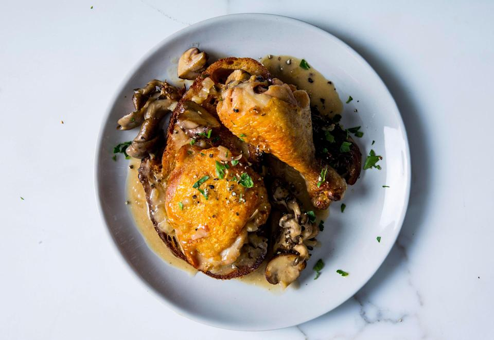 "Kind of like a deconstructed chicken and dumplings, but with crispier bits! <a href=""https://www.bonappetit.com/recipe/chicken-and-mushrooms-with-giant-croutons?mbid=synd_yahoo_rss"" rel=""nofollow noopener"" target=""_blank"" data-ylk=""slk:See recipe."" class=""link rapid-noclick-resp"">See recipe.</a>"