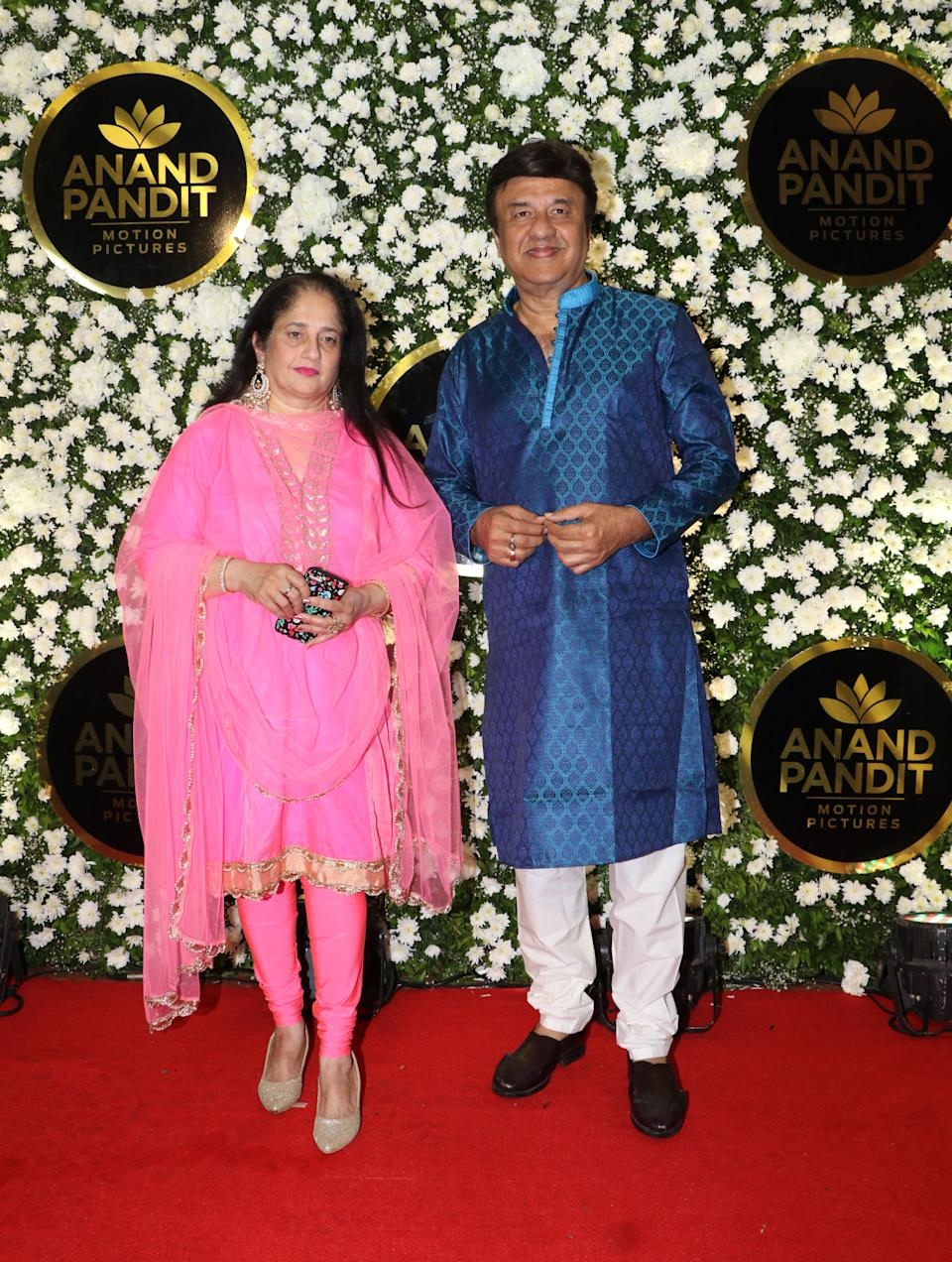 Anu Malik and his wife were spotted at the party.