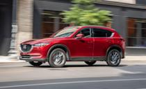 """<p>We put 40,000 miles on our long-term <a href=""""https://www.caranddriver.com/mazda/cx-5"""" rel=""""nofollow noopener"""" target=""""_blank"""" data-ylk=""""slk:Mazda CX-5"""" class=""""link rapid-noclick-resp"""">Mazda CX-5</a> in under two years—40,000 trouble-free miles, we might add. The CX-5 is rated Good across all crash tests, with a Superior rating in vehicle-to-vehicle front crash prevention, and an Advanced rating for vehicle-to-pedestrian mitigation. NHTSA gave it a five-star rating as well. Standard safety tech includes automated emergency braking with pedestrian detection, lane-departure warning and lane-keeping assist, and adaptive cruise control. The bigger 10.3-inch infotainment touchscreen added for 2021 should help too, especially for Signature models with an improved 360-degree camera and rear automated emergency braking.</p><p><a class=""""link rapid-noclick-resp"""" href=""""https://www.caranddriver.com/mazda/cx-30"""" rel=""""nofollow noopener"""" target=""""_blank"""" data-ylk=""""slk:MORE CX-5 INFO"""">MORE CX-5 INFO</a></p>"""