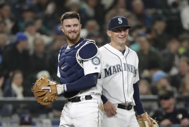 Mariners catcher Mike Marjama is hanging up his cleats to help others with eating disorders. (AP Photo)