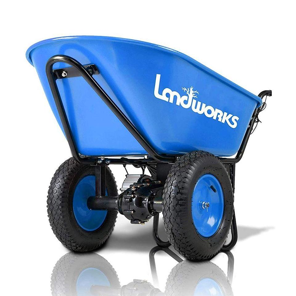 """<p><strong>Landworks</strong></p><p>amazon.com</p><p><strong>$539.99</strong></p><p><a href=""""https://www.amazon.com/dp/B07X6CR18V?tag=syn-yahoo-20&ascsubtag=%5Bartid%7C10050.g.32906783%5Bsrc%7Cyahoo-us"""" rel=""""nofollow noopener"""" target=""""_blank"""" data-ylk=""""slk:Shop Now"""" class=""""link rapid-noclick-resp"""">Shop Now</a></p><p>How amazing would it be if you never had to push a wheelbarrow ever again? This motorized option moves on its own to spare you the trouble of having to manually maneuver it over hills, gravel, or grass. It runs on rechargeable batteries, and can last up to five hours on a single charge. </p>"""