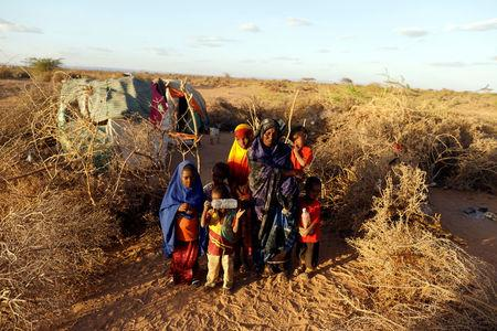 A displaced woman, Nima Mohamed, 35, poses with 6 of her 7 children beside their shelter at a makeshift settlement area near Burao, northwestern Togdheer region of Somaliland March 25, 2017. Picture taken March 25, 2017. REUTERS/Zohra Bensemra
