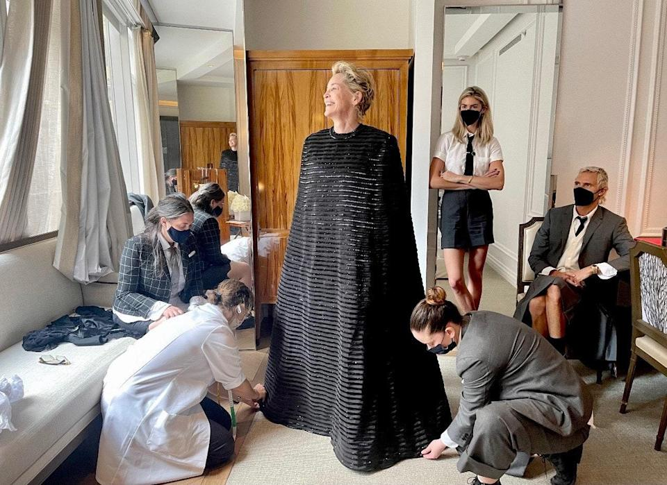 Morning fitting…my first Met Ball. Thank you to all the Thom Browne team.