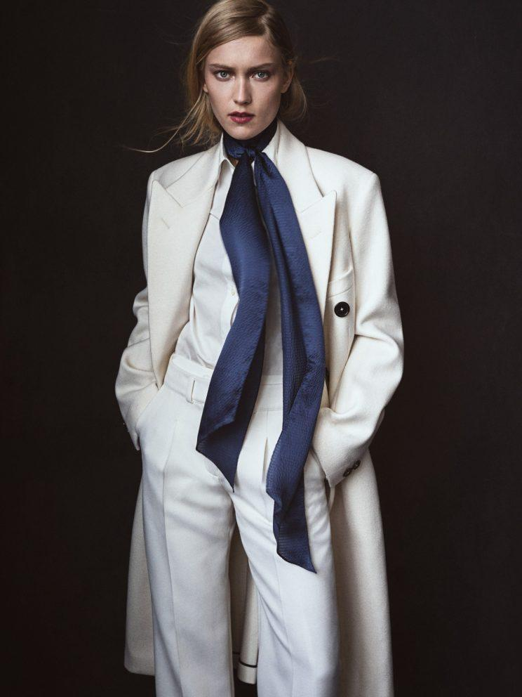 A scarf makes all the difference when it's super chilly in the morning. Jil Sander Wool Felted Melton Birmingham CV TM Coat, $3,910, Available at Jil Sander BoutiquesVera Wang White Cotton Poplin Button Down, Price Upon Request, Similar Styles Available on farfetch.com Courreges Double Opening Trouser, $1,125, courreges.comEcho Love Bias Silk Skinny, $45, echodesign.com