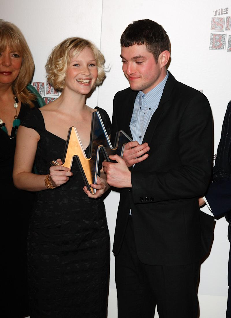 LONDON - JANUARY 29: Joanna Page and Mathew Horne pose with the award for Comedy for Gavin & Stacey during the South Bank Show Awards 2008 held at The Dorchester on January 29, 2008 in London, England. (Photo by Mike Marsland/WireImage)