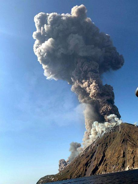 PHOTO: Ash rises into the sky after a volcano eruption on a small island of Stromboli, Italy, July 3, 2019. (ANSA/EPA via Shutterstock)