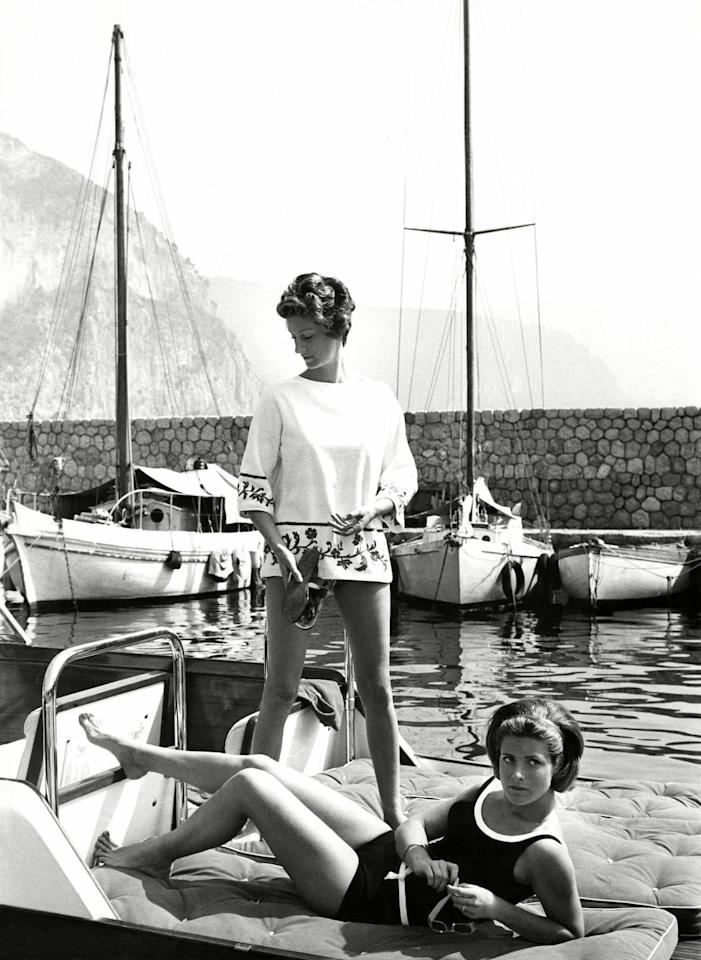 <p>Agnelli and Pignatelli sunning on board the Agnelli's boat on the Cote d'Azur in 1962.</p>