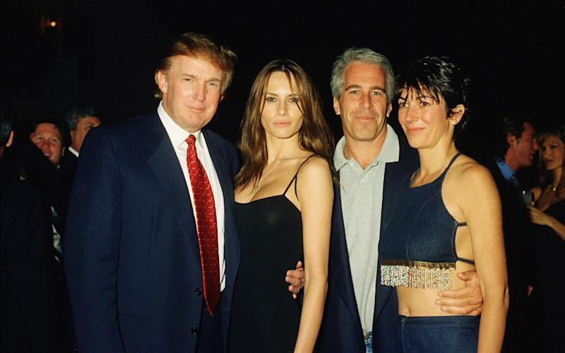 From left, American real estate developer Donald Trump and his girlfriend (and future wife), former model Melania Knauss, financier (and future convicted sex offender) Jeffrey Epstein, and British socialite Ghislaine Maxwell pose together at the Mar-a-Lago club, Palm Beach, Florida, February 12, 2000.