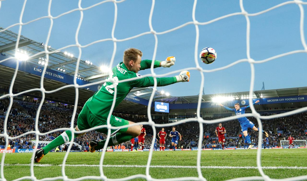 """Soccer Football - Premier League - Leicester City vs Liverpool - King Power Stadium, Leicester, Britain - September 23, 2017   Liverpool's Simon Mignolet saves a penalty from Leicester City's Jamie Vardy    Action Images via Reuters/John Sibley    EDITORIAL USE ONLY. No use with unauthorized audio, video, data, fixture lists, club/league logos or """"live"""" services. Online in-match use limited to 75 images, no video emulation. No use in betting, games or single club/league/player publications. Please contact your account representative for further details.     TPX IMAGES OF THE DAY"""