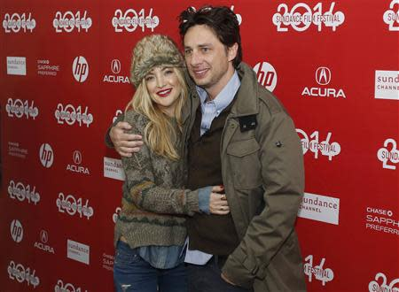 "Actors Hudson and Braff attend the premiere of the film ""Wish I Was Here"" at the Sundance Film Festival in Park City, Utah"