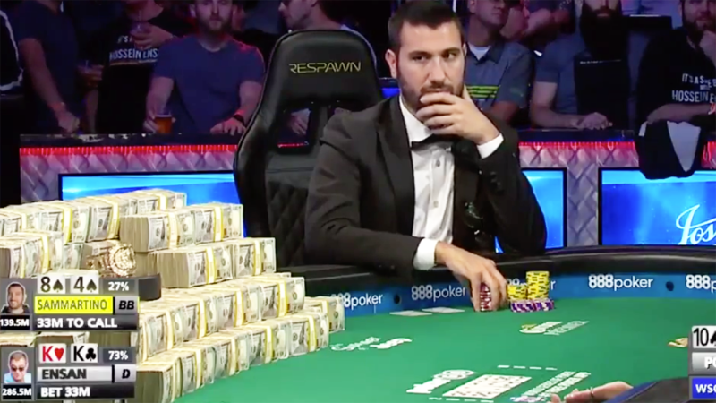 Dario Sammartino went all-in when he maybe shouldn't have, missing the $14 million prize. Image: World Series of Poker