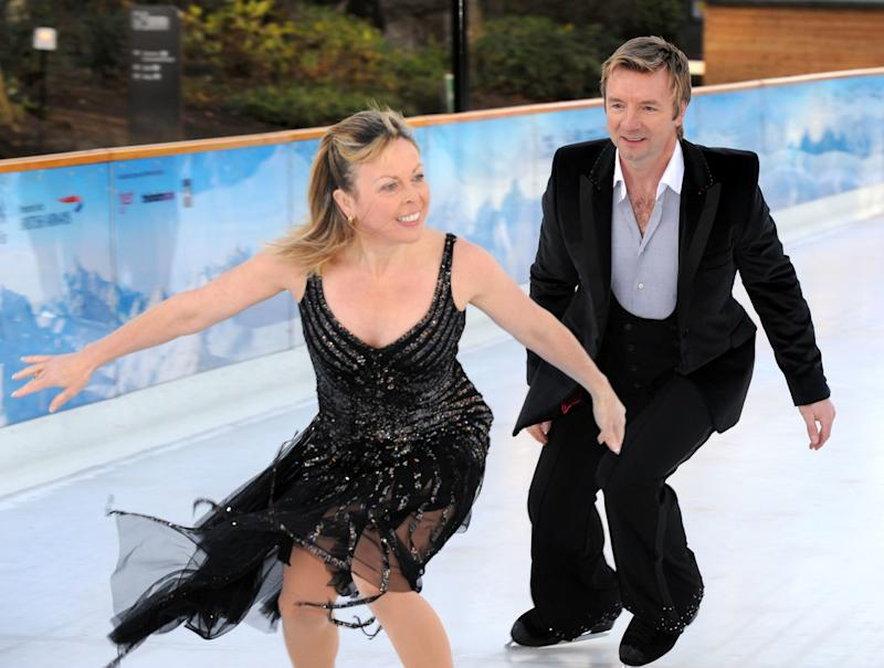 Dancing On Ice judges Jayne Torvill and Christopher Dean, demonstrate their skills at the Natural History Museum, London.