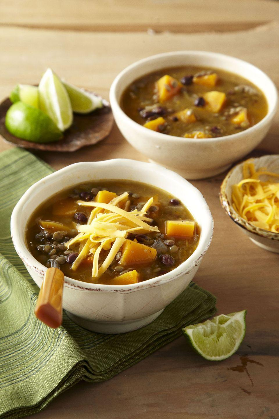 "<p>Load up on this black bean and butternut squash chili for a <a href=""https://www.goodhousekeeping.com/food-recipes/healthy/g908/vegetarian-recipes/"" rel=""nofollow noopener"" target=""_blank"" data-ylk=""slk:vegetarian-friendly option"" class=""link rapid-noclick-resp"">vegetarian-friendly option</a>. </p><p><em><a href=""https://www.goodhousekeeping.com/food-recipes/a14949/white-chili-black-beans-recipe-ghk0313/"" rel=""nofollow noopener"" target=""_blank"" data-ylk=""slk:Get the recipe for White Chili With Black Beans »"" class=""link rapid-noclick-resp"">Get the recipe for White Chili With Black Beans »</a></em></p>"