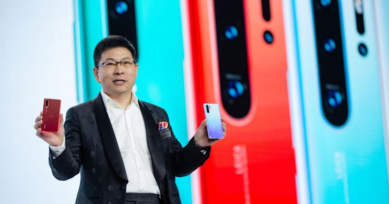 Richard Yu, CEO of Huawei's consumer business, speaks as he presents the P30 series smartphone during a launch event in Paris.