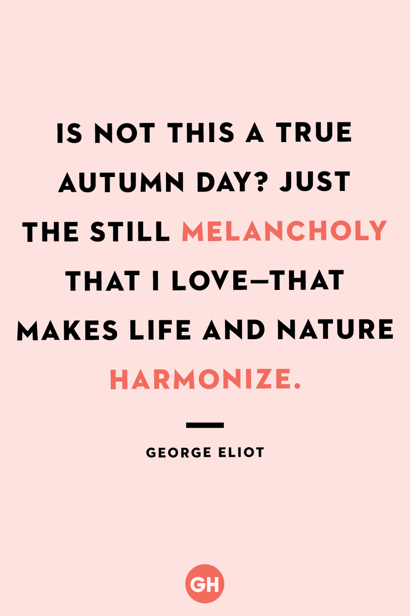 <p>Is not this a true autumn day? Just the still melancholy that I love — that makes life and nature harmonize.</p>