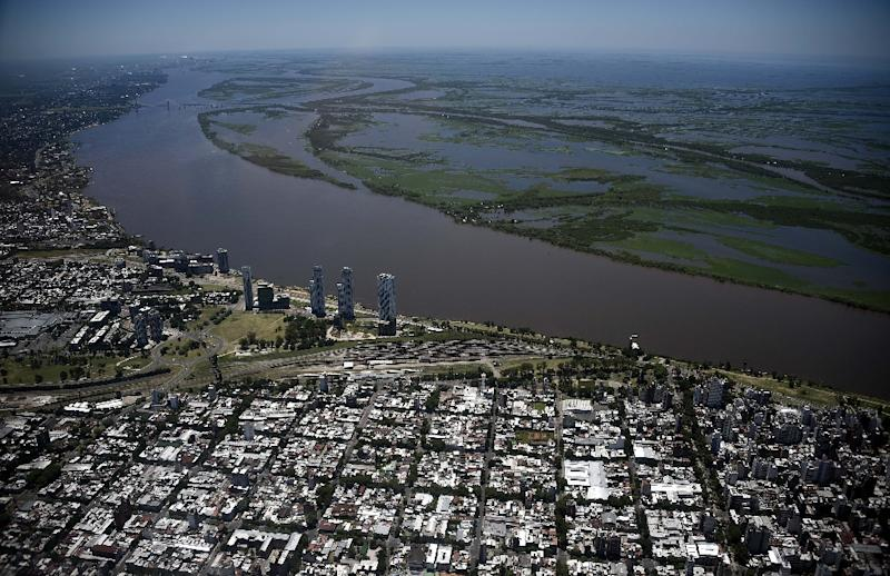 Aerial view of the city of Rosario, on the banks of the Parana River in Argentina between Villa Carlos Paz and Rosario, on January 16, 2016