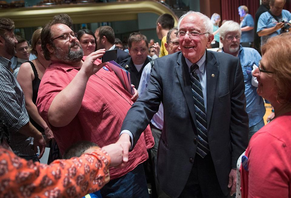 Sen. Bernie Sanders greets guests at a campaign event at Drake University on June 12, 2015 in Des Moines, Iowa.