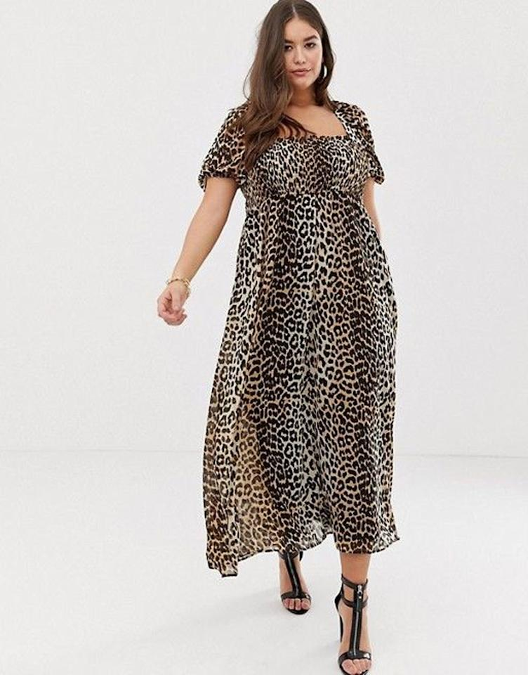"Will we ever get tired of animal print? I hope not. $60, ASOS. <a rel=""nofollow"" href=""https://us.asos.com/asos-curve/asos-design-curve-shirred-bustier-maxi-dress-with-puff-sleeve-in-animal-print/prd/11086385?clr=leopard-print&SearchQuery=&cid=9577&gridcolumn=2&gridrow=4&gridsize=4&pge=2&pgesize=72&totalstyles=285"">Get it now!</a>"