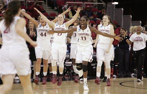 Stanford's Chiney Ogwumike celebrates after defeating Duke in the second half of an NCAA women's tournament regional final college basketball game Monday, March 26, 2012, in Fresno, Calif. Stanford won 81-69. (AP Photo/Gary Kazanjian)