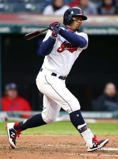 Cleveland Indians' Francisco Lindor singles off Chicago White Sox starting pitcher Lucas Giolito during the sixth inning of a baseball game, Tuesday, May 7, 2019, in Cleveland. (AP Photo/Ron Schwane)