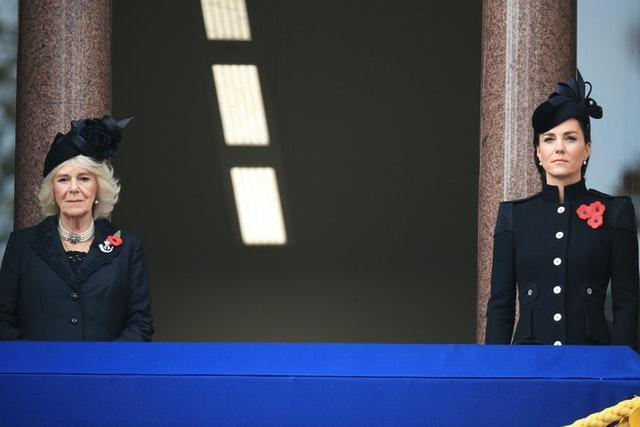 The Duchess of Cornwall and the Duchess of Cambridge during the Remembrance Sunday service at the Cenotaph