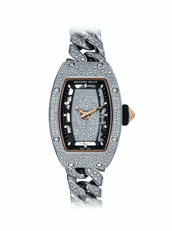 "<p><a class=""link rapid-noclick-resp"" href=""https://www.richardmille.com/storelocator/richard-mille-london"" rel=""nofollow noopener"" target=""_blank"" data-ylk=""slk:SHOP NOW"">SHOP NOW</a></p><p>Created to marry the worlds of luxurious haute couture watchmaking with the toughest technological materials, Richard Mille's RM 07-01 is renowned for its gemstone-studded centre. The very latest, and most decadent, model features a white gold case encrusted with a veritable flurry of snow-set diamonds for serious drama. </p><p>RM 07-01 watch with snow-set diamonds, price on request, <a href=""https://www.richardmille.com/storelocator/richard-mille-london"" rel=""nofollow noopener"" target=""_blank"" data-ylk=""slk:Richard Mille"" class=""link rapid-noclick-resp"">Richard Mille</a></p>"