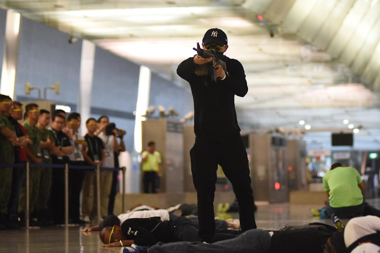 <p>The threats during the counter terrorism exercise Northstar at Changi Airport Terminal 3 on 17 October, 2017, included a few gunmen and a suicide bomber. </p>