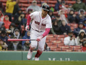 Boston Red Sox's Michael Chavis runs toward first after hitting an RBI-single off a pitch by Seattle Mariners' Marco Gonzales during the first inning of a baseball game at Fenway Park, Sunday, May 12, 2019, in Boston. (AP Photo/Steven Senne)