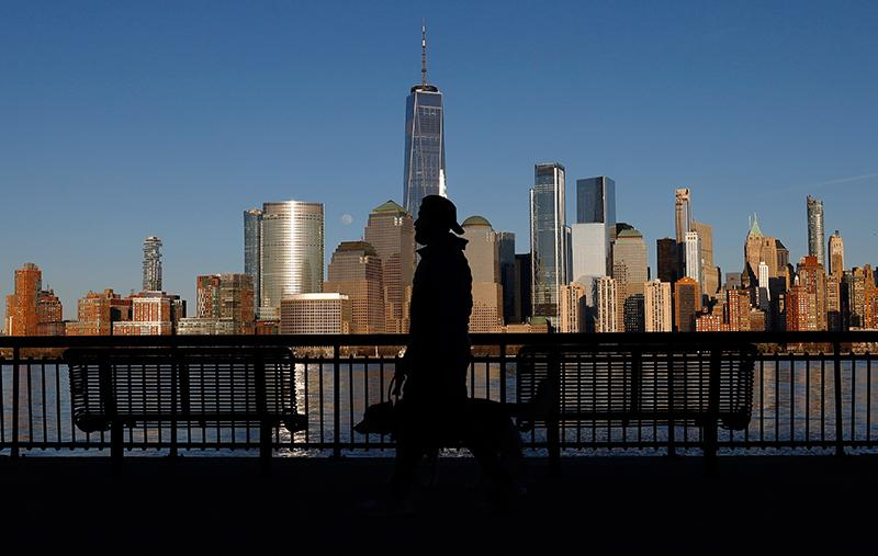Man takes dog for walk in New York City
