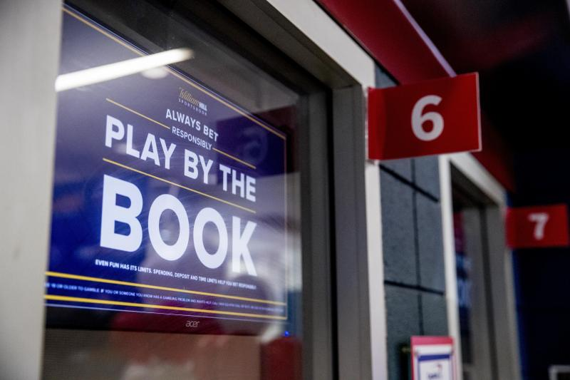 William Hill US opens a sports book betting location inside Monumental Sports & Entertainment's Capital One Arena Box Office in Washington, Monday, Aug. 3, 2020. (AP Photo/Andrew Harnik)