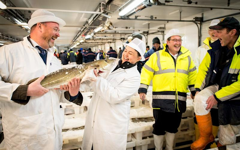 Ruth Davidson at Peterhead fish market - Wullie Marr/DEADLINE NEWS