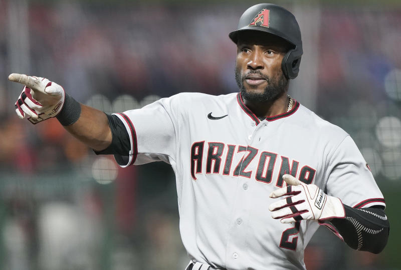 SAN FRANCISCO, CALIFORNIA - AUGUST 22: Starling Marte #2 of the Arizona Diamondbacks reacts towards a teammate after he scored against the San Francisco Giants in the top of the seventh inning at Oracle Park on August 22, 2020 in San Francisco, California. (Photo by Thearon W. Henderson/Getty Images)