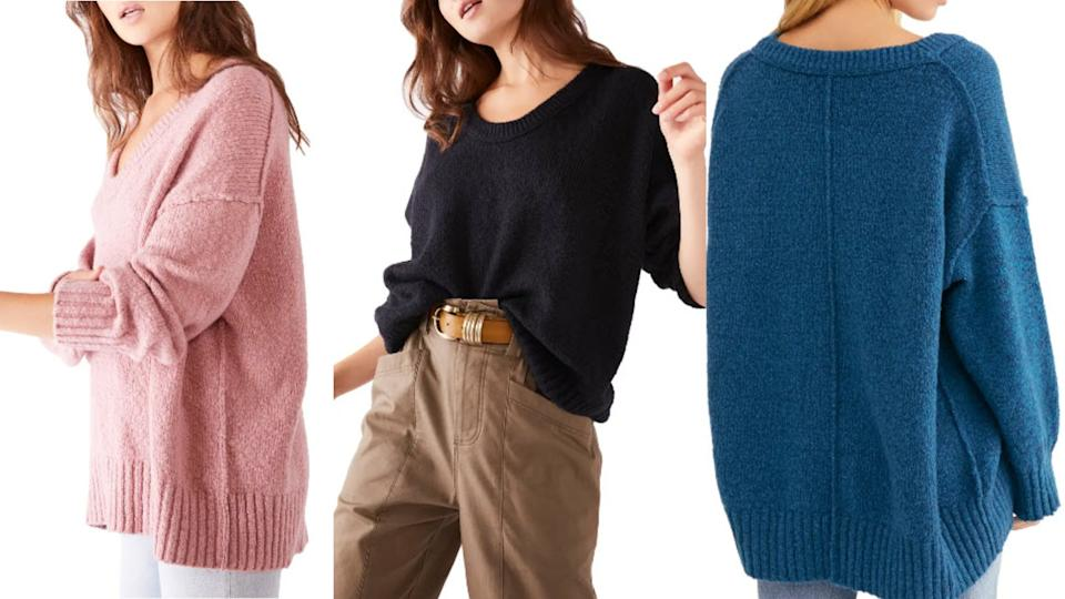 This sweater from Free People is available in eight different colours and is majorly marked down right now. (Image via Nordstrom)
