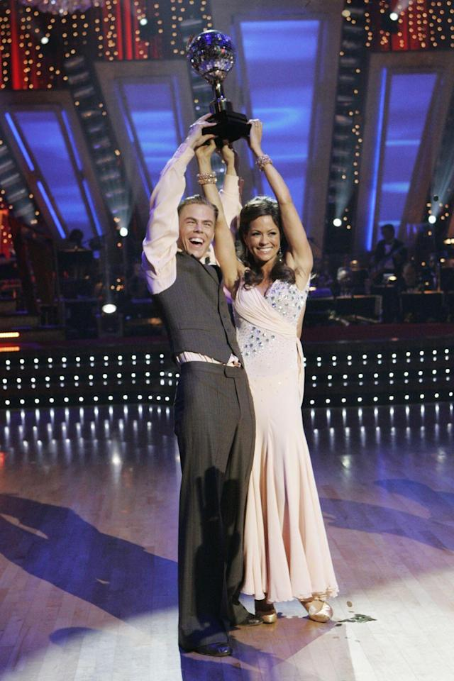 <p>Former Playboy model Brooke Burke and pro Derek Hough danced their way to the season seven win. Brooke was up against Warren Sapp and Lance Bass.</p>