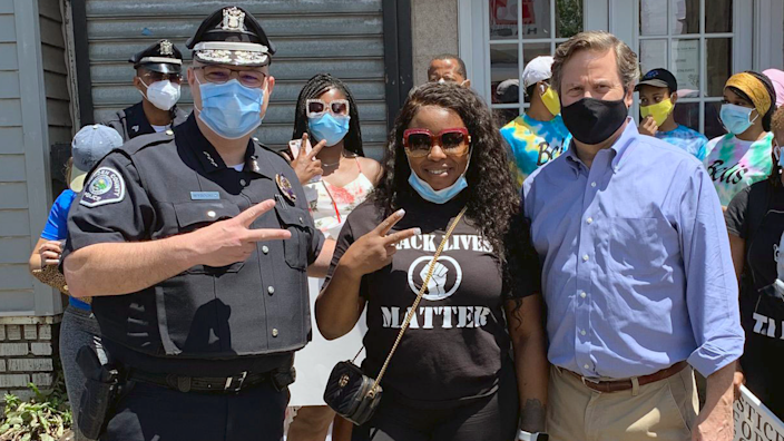 Yolanda Deaver (center) is shown with Camden Police Chief Joseph Wysocki and U.S. Rep. Donald Norcross before the start of Saturday's march. (Credit: Camden Police Department)