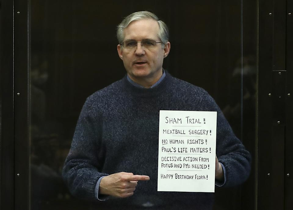 American citizen Paul Whelan attends a sentencing hearing at the Moscow City Court on charges of espionage against Russia on June 15, 2020. (Anton Novoderezhkin/TASS via Getty Images)