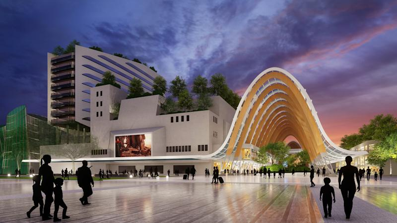 An artist impression of the proposed redevelopment of Kallang Theatre in the Kallang Alive precinct. (INFOGRAPHIC: Sport Singapore)