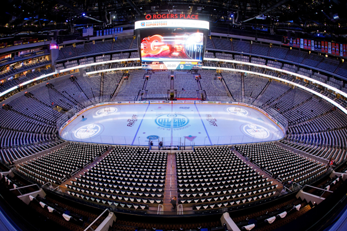 """Rogers Place in Edmonton will be one of two sites hosting games when the Stanley Cup playoffs begin. <span class=""""copyright"""">(Codie McLachlan / Getty Images)</span>"""