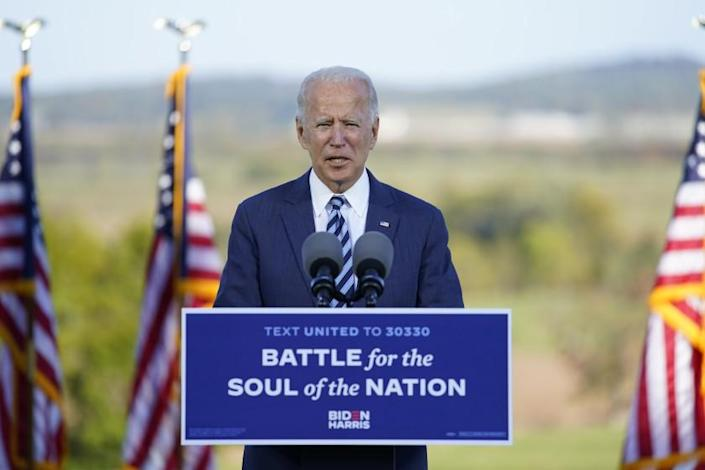"Democratic presidential candidate Joe Biden speaks outside Gettysburg National Military Park in Pennsylvania on Tuesday. <span class=""copyright"">(Alex Edelman / AFP/Getty Images)</span>"