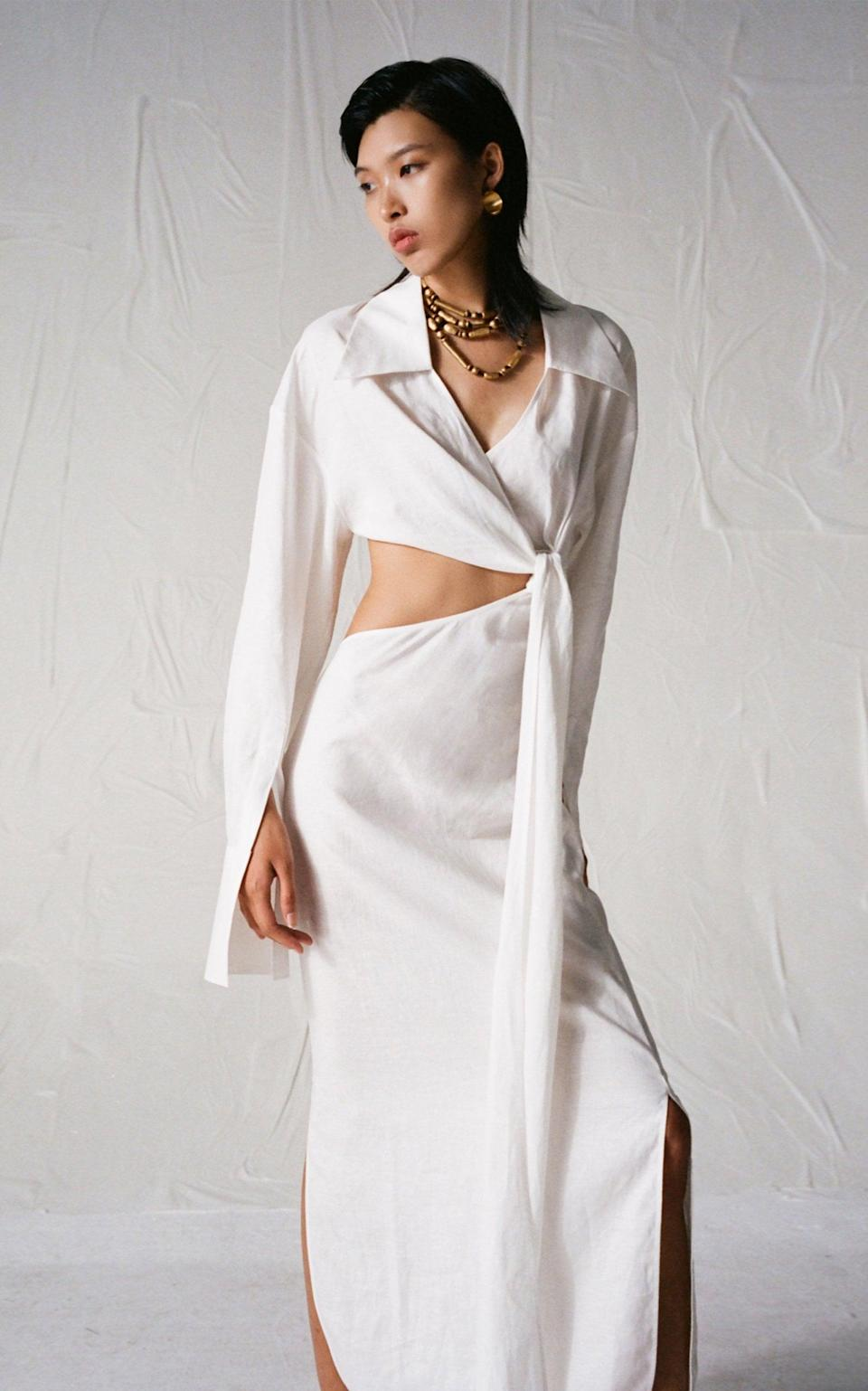 <p>This <span>Subtle Studios Cutout Linen Shirt Dress</span> ($490) is sexy and sophisticated. We love the side cutout coupled with the slit.</p>